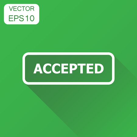 Accepted seal stamp icon. Business concept accepted pictogram. Vector illustration on green background with long shadow.