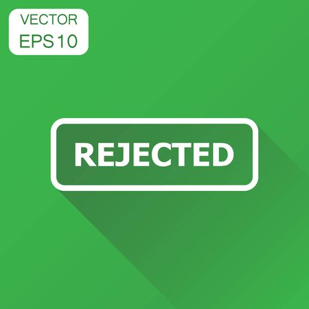 Rejected seal stamp icon. Business concept rejected pictogram. Vector illustration on green background with long shadow.