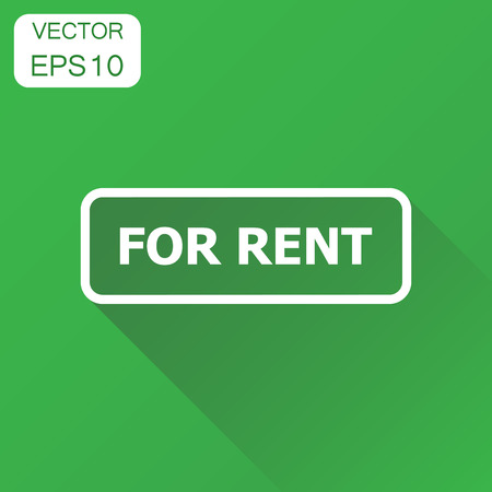 For rent seal stamp icon. Business concept rent pictogram. Vector illustration on green background with long shadow. Ilustrace