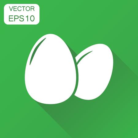 Icona di uovo . Uovo di uovo . Illustrazione vettoriale di uovo di pollo. sfondo verde con lunga ombra Archivio Fotografico - 84564941