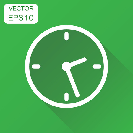 Clock icon. Business concept timer pictogram. Vector illustration on green background with long shadow.