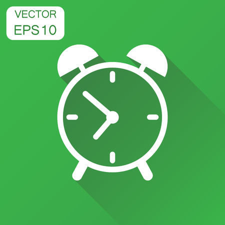 Alarm clock icon. Business concept clock timer pictogram. Vector illustration on green background with long shadow. 向量圖像