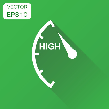 Speedometer, tachometer, fuel high level icon. Business concept high level rating pictogram. Vector illustration on green background with long shadow. Çizim