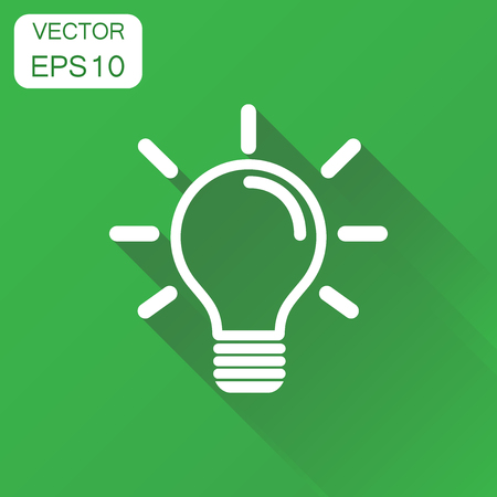 Light bulb icon. Business concept idea lightbulb pictogram. Vector illustration on green background with long shadow. Illustration