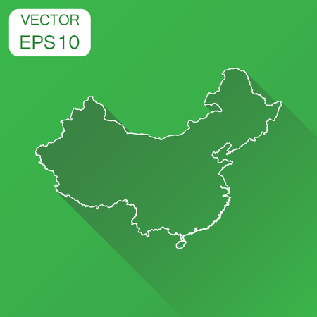 China map icon. Business concept China line map pictogram. Vector illustration on green background with long shadow.