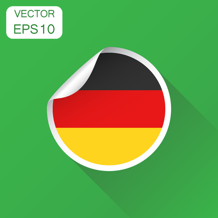 Germany sticker flag icon business concept germany label pictogram vector illustration on green background