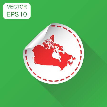 Canada sticker map icon. Business concept Canada label pictogram. Vector illustration on green background with long shadow. Illustration
