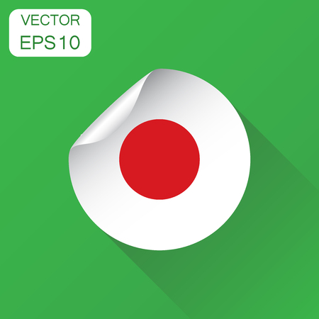 Japan sticker flag icon. Business concept Japan label pictogram. Vector illustration on green background with long shadow.  イラスト・ベクター素材