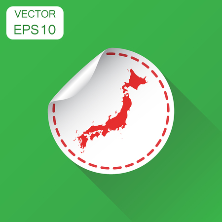 Japan sticker map icon. Business concept Japan label pictogram. Vector illustration on green background with long shadow.