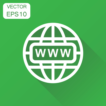 webhost: Go to web icon. Business concept network internet search pictogram. Vector illustration on green background with long shadow.