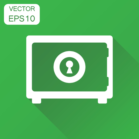 Safe deposit icon. Business concept safe pictogram. Vector illustration on green background with long shadow.