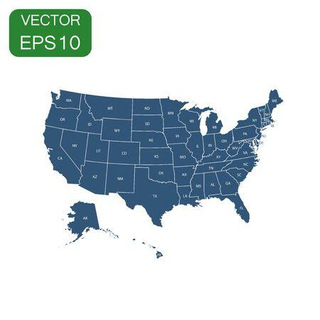 Kaartpictogram van de VS. Bedrijfsconcept Amerika politiek pictogram. Vectorillustratie op witte achtergrond. Stock Illustratie
