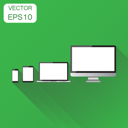 lcd display: Realistic device icon. Business concept smartphone, tablet, laptop and desktop computer pictogram. Vector illustration on green background with long shadow.