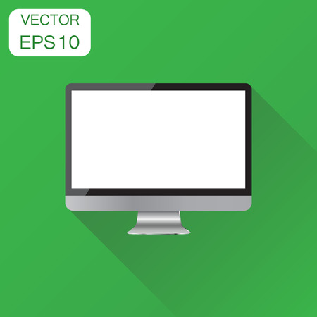 lcd display: Realistic desktop computer monitor icon. Business concept monitor pictogram. Vector illustration on green background with long shadow.