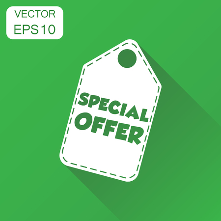 Special offer hang tag icon. Business concept sale shopping pictogram. Vector illustration on green background with long shadow. Illustration