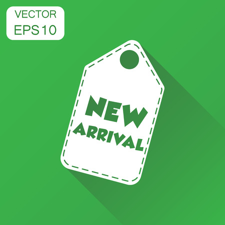 New arrival hang tag icon. Business concept new arrival shopping pictogram. Vector illustration on green background with long shadow.
