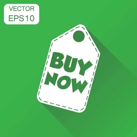 Buy now hang tag icon. Business concept buy now shopping pictogram. Vector illustration on green background with long shadow.