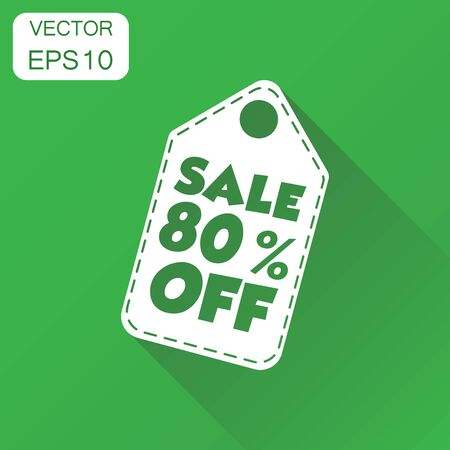 Sale 80% off hang tag icon. Business concept sale 80% shopping pictogram. Vector illustration on green background with long shadow. Ilustrace