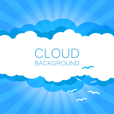 Clouds in the sky with sun rays. Flat vector illustration in cartoon style. Blue colorful background.
