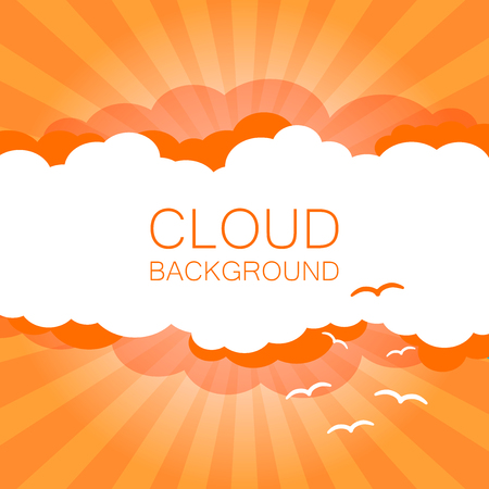 Clouds in the sky with sun rays. Flat vector illustration in cartoon style. Orange colorful sunset background.