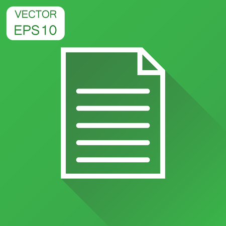 Document icon. Business concept document note pictogram. Vector illustration on green background with long shadow. Illustration