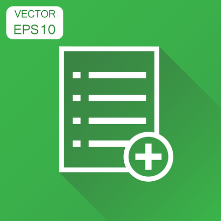 new addition: Add list document icon. Business concept document note pictogram. Vector illustration on green background with long shadow.