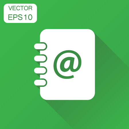Address book icon. Business concept contact note pictogram. Vector illustration on green background with long shadow. Ilustração