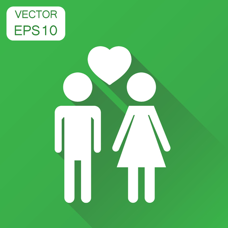 Vector man and woman with heart icon. Business concept people pictogram. Vector illustration on green background with long shadow. Illustration