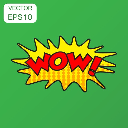 Wow comic sound effects icon. Business concept wow sound bubble speech pictogram. Vector illustration on green background with long shadow. 向量圖像