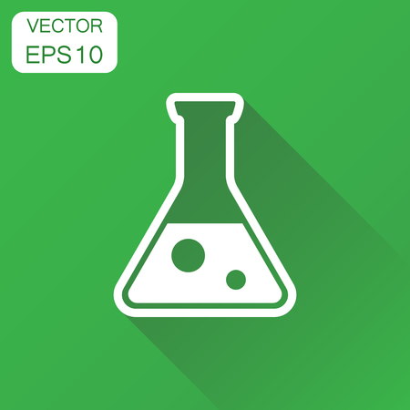 Chemical test tube icon. Business concept experiment flasks pictogram. Vector illustration on green background with long shadow. Illustration