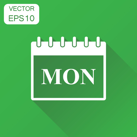 Monday calendar page icon. Business concept monday calendar pictogram. Vector illustration on green background with long shadow.