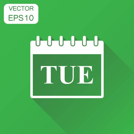 Tuesday calendar page icon. Business concept tuesday calendar pictogram. Vector illustration on green background with long shadow.
