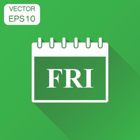 icono de página del calendario del viernes . concepto de negocio de calendario de negocios. ilustración vectorial sobre fondo verde con larga sombra .
