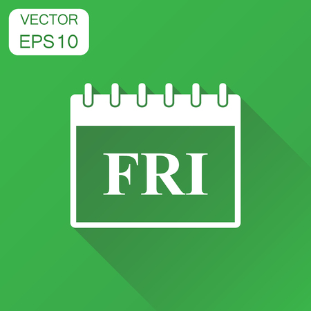 Friday calendar page icon. Business concept friday calendar pictogram. Vector illustration on green background with long shadow. Illustration