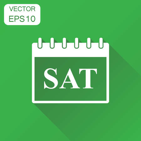 Saturday calendar page icon. Business concept saturday calendar pictogram. Vector illustration on green background with long shadow. Stock Illustratie