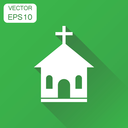 Church sanctuary icon. Business concept church pictogram. Vector illustration on green background with long shadow.
