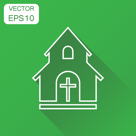 Line church sanctuary icon. Business concept church pictogram. Vector illustration on green background with long shadow. Illustration