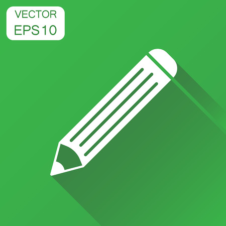 Pencil icon. Business concept pencil pictogram. Vector illustration on green background with long shadow.