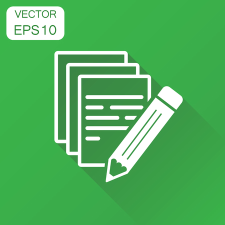 Document with pencil icon. Business concept note document pictogram. Vector illustration on green background with long shadow.