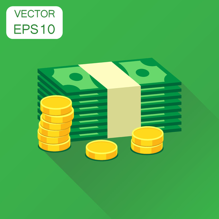 Stacks of gold coins and stacks of dollar cash icon. Business concept money pictogram. Vector illustration on green background with long shadow.
