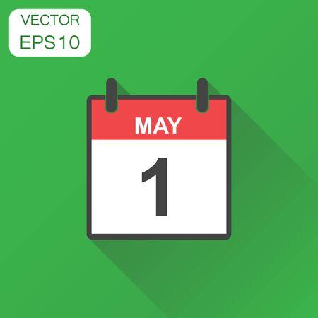 1 mei kalenderpictogram. Business concept kalender pictogram. Vectorillustratie op groene achtergrond met lange schaduw.