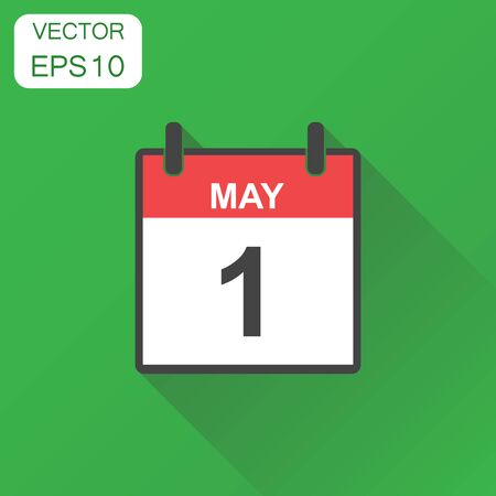 May 1 calendar icon. Business concept calendar pictogram. Vector illustration on green background with long shadow.  イラスト・ベクター素材