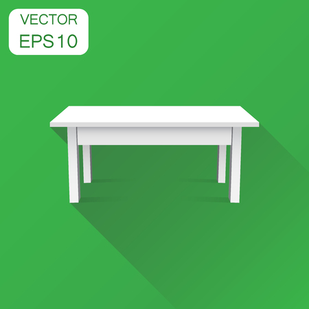 Vector 3d table for object presentation icon. Business concept table pictogram. Vector illustration on green background with long shadow.