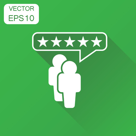Customer reviews, rating, user feedback icon. Business concept rating pictogram. Vector illustration on green background with long shadow. Illustration