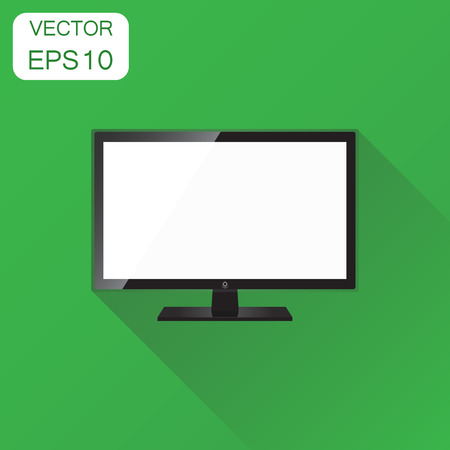 Realistic tv screen icon. Business concept television pictogram. Vector illustration on green background with long shadow. Ilustração