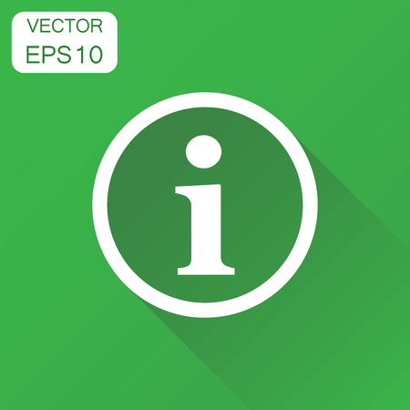 Information icon. Business concept attention pictogram. Vector illustration on green background with long shadow.
