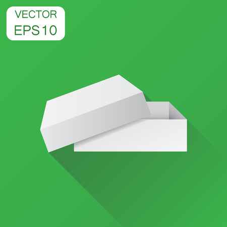 White cardboard package box. Business concept box pictogram. Vector illustration on green background with long shadow.