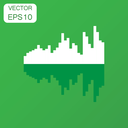 Vector sound waveform icon. Business concept Sound waves and musical pulse pictogram. Vector illustration on green background with long shadow. Illustration