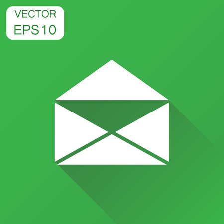Mail envelope icon. Business concept email pictogram. Vector illustration on green background with long shadow.