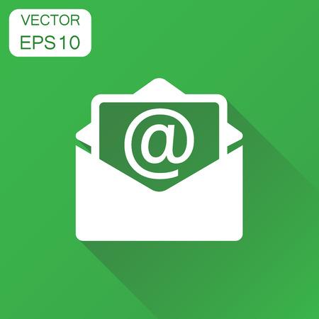 Mail envelop pictogram. Bedrijfsconcept e-mailpictogram. Vectorillustratie op groene achtergrond met lange schaduw. Stockfoto - 85327432